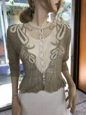 Lim's Vintage All Hand Made Cotton Crochet Top Pearl Buttons Taupe/White Size M