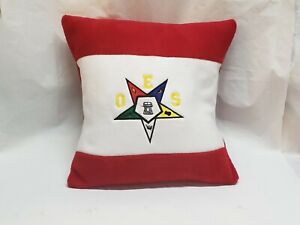 """ORDER OF EASTERN STAR EMBROIDERED 16"""" RED & WHITE COLOR BLOCKED  ACCENT PILLOW"""