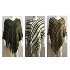 NEW LADIES PONCHO KNITTED STRIPE WOMEN'S FRINGE LONG SLANTED CAPE RUFFLE JUMPER