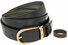 Montblanc Red Gold Horseshoe Pin Buckle Reversible Leather Belt 111633 New