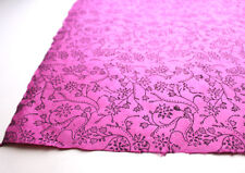 Black Flower and Leaf Printed Pink Handmade Gift Wrapping Lokta Paper Sheets