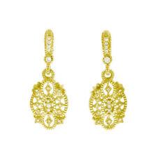 ESTATE 18K JUDITH RIPKA DIAMOND GOLD CASTLE EARRINGS