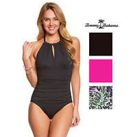 Tommy Bahama Pearl Solids High Neck Halter One Piece Swim