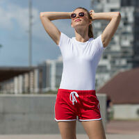 Skinni Fit Womens Ladies Retro Sports Gym Summer Shorts - SK069
