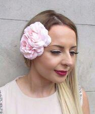 Double Blush Light Pink Camellia Flower Hair Clip Rockabilly 1950s Rose Vtg 2847