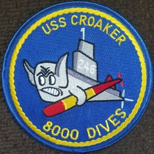 US NAVY Submarine Patch USS Croaker SS-246 8000 Dives - Military Iron on