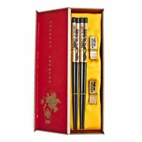 Chinese Wooden Chopsticks Gift Set with Pictures of Double Dragons