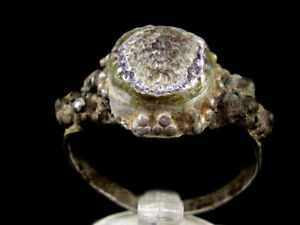 BEAUTIFUL BYZANTINE SILVER RING, RED GLASS STONE ON THE TOP+++