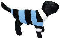 Blue and Black Striped Polo Shirt White Collar for Small Dogs Pets