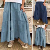 UK Womens Dress Patchwork Denim Elastic Waist Skirts Long Maxi Ladies Plus Size