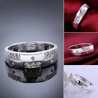 925 Sterling Silver Filled Solid Natural Crystal Wedding Band Engagement Ring