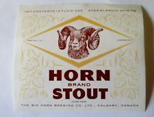 OLD CANADA BEER LABEL BIG HORN BREWING CO LTD HORN BRAND STOUT CALGARY ALBERTA