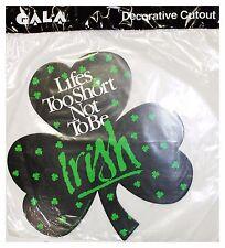 "GALA* 12""x13"" Cutout CLOVER Home Decor ST PATRICK'S DAY Decoration BLACK+GREEN"