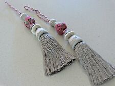 FRENCH set of 2 TASSELS embroidered HOME DECORATION NEW