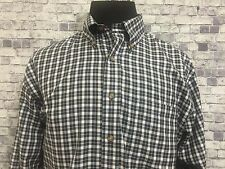 Brooks Brothers Mens Navy Blue White Checks Button Front Casual Long Sleeve Sz L