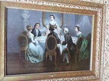 Léonard SAURFELT -c.1840-Scène-Dîner galant-Tableau ancien-Huile-HSP-signée-oil