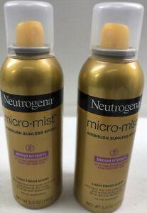 2 Neutrogena Micromist Airbrush Sunless Tanning Spray Medium Intensity 5.3 oz