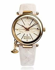 Vivienne Westwood Ladies' Gold Plated Orb Strap Watch VV006WHWH WHITE From Japan