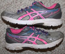 Asics Gel Contend 2 Running Shoes 7.5 Seven 1/2 Womens Gray Pink Blue & White