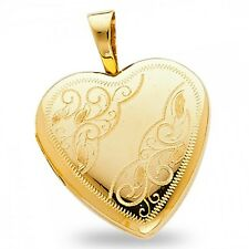 Heart Locket Pendant Solid 14k Yellow Gold Engraved Love Charm Holds Pictures