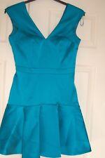 NEW Sam Faiers Turquoise Satin Flippy Hem Dress