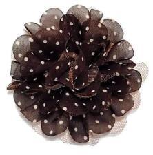 "Brown 4"" polka dot chiffon tulle mesh flowers hair bow & headbands"