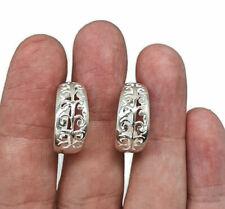 Three Quarter Hoop Earrings, Sterling Silver, Filigree Design, Silver Hoops