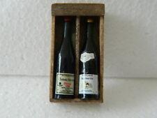 (F28) DOLLS HOUSE HANDMADE WOODEN WINE BOX WITH 2 X BOTTLES (EMPTY)