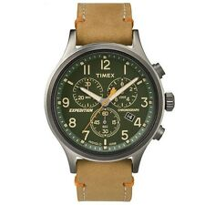 New Timex Men's Expedition Scout Chrono Leather Slip-Thru Strap Watch Green/Tan