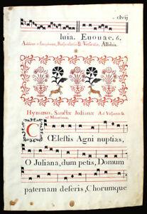ILLUMINATED MANUSCRIPT ANTIPHONAL LEAF Italy c 1778,  LARGE ELABORATE DECOR