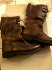 BURBERRY PRORSUM LEATHER  BOOTS BROWN VINTAGE SZ 41