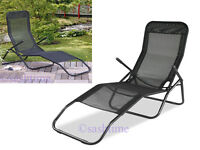 NEW FOLDING GARDEN SUN LOUNGER RECLINER BED PATIO DECK BEACH CHAIR W ARMREST