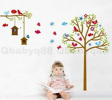 Cute Bird House Tree Wall Decals Removable Sticker Kids Art Nursery Home Decor