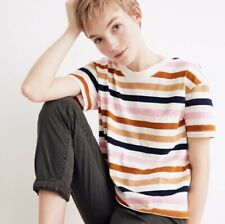 Madewell Easy Crop Tee In Beatrice Stripe Rainbow XXS NWT Cotton