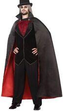 Mens Ladies Long Black Vampire Halloween Cape Cloak Fancy Dress Costume Outfit