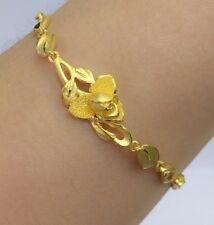 24K Solid Yellow Gold Rose Flower Cute Bracelet. 7 Inches, 10.61 Grams