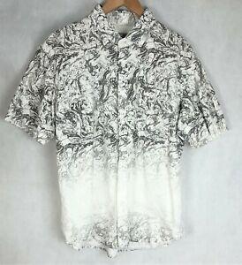 Mens Giani Gracio Size XL Swirls Grey and White Short Sleeve Collared Shirt