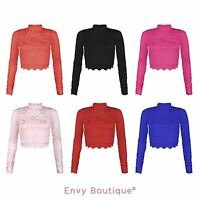 New Womens Ladies Lace Cropped Close Shrug Long Sleeve High Neck Top Bolero 8-14