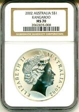2002 S$1 Australia Silver Kangaroo NGC MS70