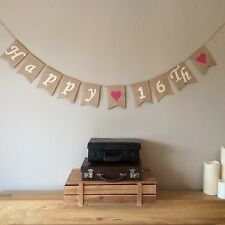 ❤️16th Birthday Bunting Banner. Vintage Hessian Rustic❤️