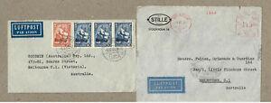 Sweden 1937  Stille Metered Air & Rail Denmark 1952 Ship Cover x2 to Australia