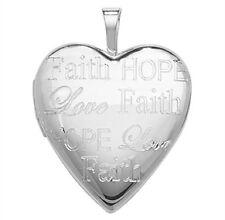 Plata de Ley Forma de Corazón Esperanza, Amor y Fe Grabado Medallón 3.12g