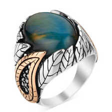Awesome Blue Tiger's Eye Gemstone In Real 925 Two Tone Solid Silver Men's Ring
