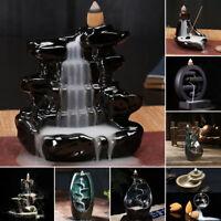 6 Styles Ceramic Waterfall Backflow Smoke Incense Burner Censer Holder + Cones