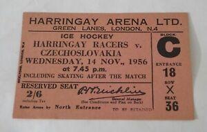 1956 HARRINGAY RACERS v CZECHOSLOVAKIA Ice Hockey Ticket