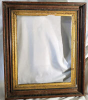 Antique LARGE Solid Wood Gilt Trim Gold Black Picture Frame Painting Mirror