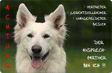 Weißer SCHÄFERHUND - A4 Alu Warnschild Hundeschild SCHILD Türschild - WSS 04 T10