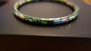 Vintage Thin Chinese Floral Cloisonné Enamel Bangle Bracelet ~~