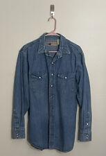 New listing 80s Vtg Big Mac Jc Penney Denim Chambray Cowboy Western Pearl Snap Shirt Sz Lt