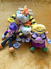 Super Mario Plush Teddy - Bowser, Bowser Jr, Wario & Waluigi Soft Toys Set NEW